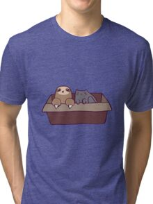 Sloth and Cat in a Box Tri-blend T-Shirt