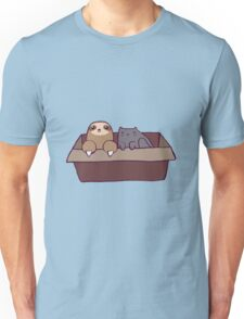 Sloth and Cat in a Box Unisex T-Shirt