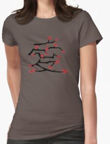 Chinese 'Ai' Love Red Sakura Cherry Blossoms With Black Branches Womens Fitted T-Shirt