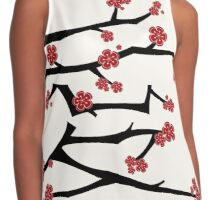 Chinese 'Ai' Love Red Sakura Cherry Blossoms With Black Branches Contrast Tank