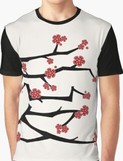 Chinese 'Ai' Love Red Sakura Cherry Blossoms With Black Branches Graphic T-Shirt