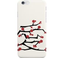 Chinese 'Ai' Love Red Sakura Cherry Blossoms With Black Branches iPhone Case/Skin