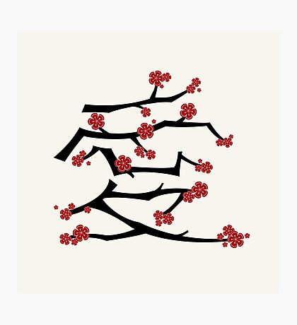 Chinese 'Ai' Love Red Sakura Cherry Blossoms With Black Branches Photographic Print