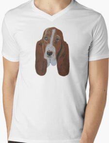 Portrait of a Basset Hound Mens V-Neck T-Shirt
