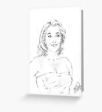Gillian Anderson Portrait Sketch Greeting Card