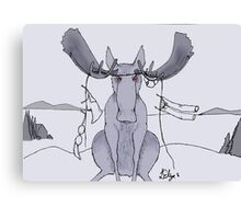 Angry Moose Stuck In A Clothesline Canvas Print