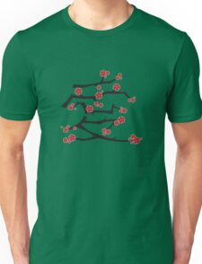 Chinese 'Ai' Love Red Sakura Cherry Blossoms With White Branches Unisex T-Shirt