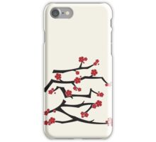 Chinese 'Ai' Love Red Sakura Cherry Blossoms With White Branches iPhone Case/Skin