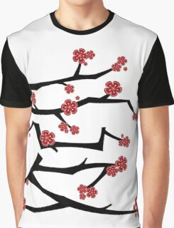 Chinese 'Ai' Love Red Sakura Cherry Blossoms With White Branches Graphic T-Shirt