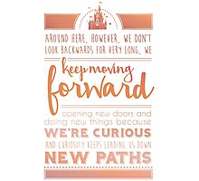 Rose Gold Keep Moving Forward Inspirational Quote from Walt Disney Photographic Print
