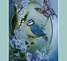 Blue garden bird tote bag by Gabriella  Szabo