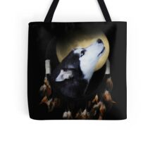 Dream Catcher With Moon and Husky Tote Bag
