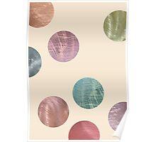 Decorative Multicolored Metallic Dots on Cream Poster
