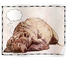 Blank Thought Bubble Bear Poster
