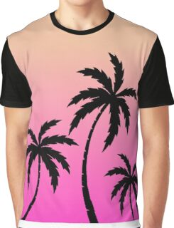 Tropical Palm Trees Ombre Sunset Colors Graphic T-Shirt