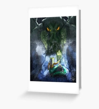 Cthulhu vs Poseidon Greeting Card
