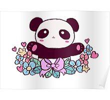 Cute Flowery Panda Poster