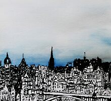 Drawing of Edinburgh with Chinese Ink and Watercolor by MyCityArt