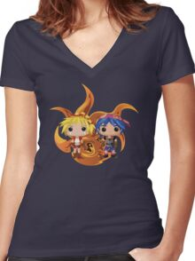Kid & Serge with Frozen Flame Women's Fitted V-Neck T-Shirt