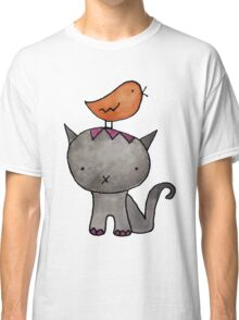 cat and bird watercolor tiled  Classic T-Shirt