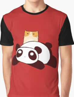 Panda and Tabby Cat Graphic T-Shirt