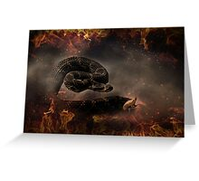 Rattle Snake in Fire Greeting Card