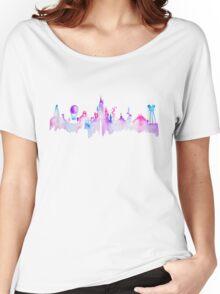 Paris Magic Theme Park Watercolor Skyline Silhouette Women's Relaxed Fit T-Shirt
