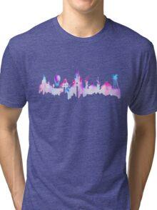 Paris Magic Theme Park Watercolor Skyline Silhouette Tri-blend T-Shirt