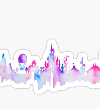 Paris Magic Theme Park Watercolor Skyline Silhouette Sticker