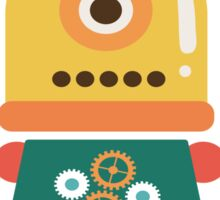 Quirky Retro Wind-up Robot Toy Sticker