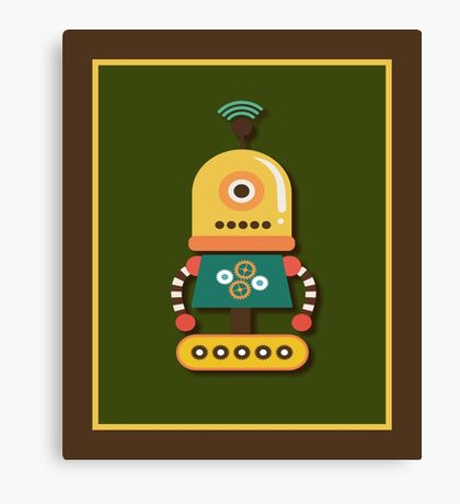 Quirky Retro Wind-up Robot Toy Canvas Print