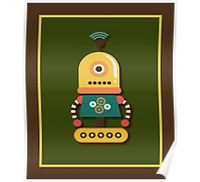 Quirky Retro Wind-up Robot Toy Poster