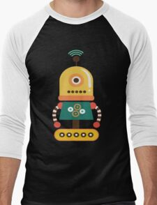 Quirky Retro Wind-up Robot Toy Men's Baseball ¾ T-Shirt