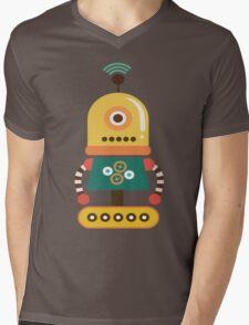 Quirky Retro Wind-up Robot Toy Mens V-Neck T-Shirt