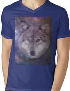 Space Wolf Mens V-Neck T-Shirt