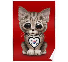 Cute Kitten Cat with South Korean Flag Heart Poster