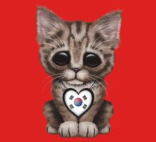 Cute Kitten Cat with South Korean Flag Heart One Piece - Short Sleeve