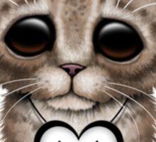 Cute Kitten Cat with South Korean Flag Heart Sticker