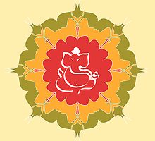 God Ganesha on red ,yellow, green flower by cycreation
