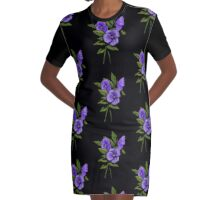 Purple Pansies: Original Colour Pencil Drawing, Flowers Graphic T-Shirt Dress