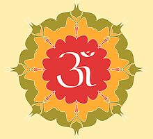 OM symbol on red, yellow, green flower by cycreation