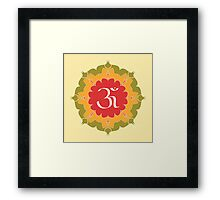 OM symbol on red, yellow, green flower Framed Print