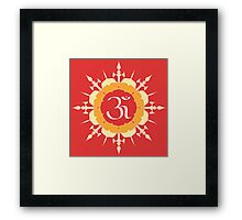 OM symbol on red and yellow flower Framed Print