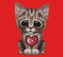 Cute Kitten Cat with Turkish Flag Heart One Piece - Short Sleeve