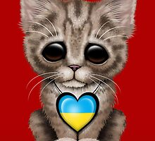 Cute Kitten Cat with Ukrainian Flag Heart by Jeff Bartels