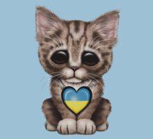 Cute Kitten Cat with Ukrainian Flag Heart One Piece - Short Sleeve