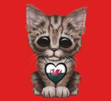 Cute Kitten Cat with Welsh Flag Heart One Piece - Short Sleeve