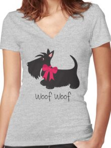 Woof Woof Scottie Dog Women's Fitted V-Neck T-Shirt