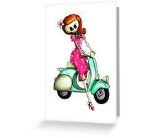 Skeleton girl on Vintage Scooter Greeting Card