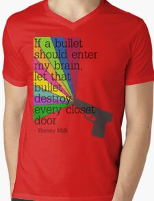 'If a bullet should enter my brain...' Mens V-Neck T-Shirt